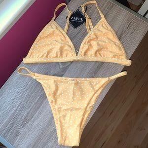 Yellow Polka Dot Bikini Set
